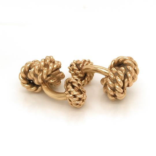 Tiffany & Co. Vintage 1940s Tiffany & Co 14k Gold Heavy Double Knot Cuff Links Curve Image 4