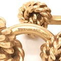 Tiffany & Co. Vintage 1940s Tiffany & Co 14k Gold Heavy Double Knot Cuff Links Curve Image 5