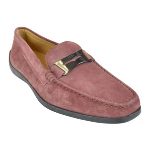 Tod's Suede Guaina Penny Loafers Red Dusty pink Flats