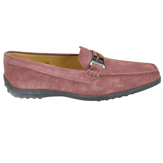 Tod's Suede Guaina Penny Loafers Red Dusty pink Flats Image 1