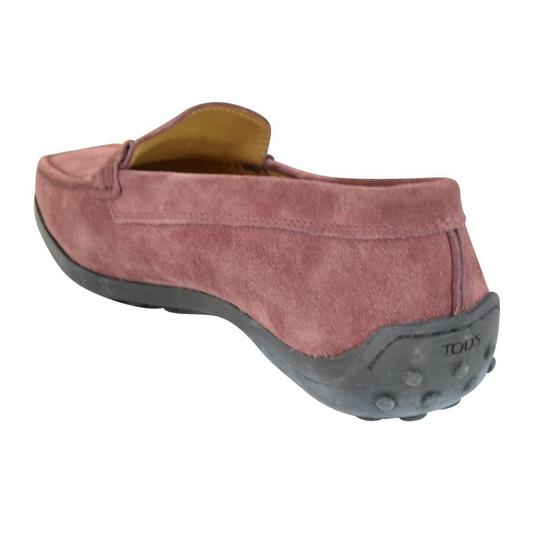Tod's Suede Guaina Penny Loafers Red Dusty pink Flats Image 2