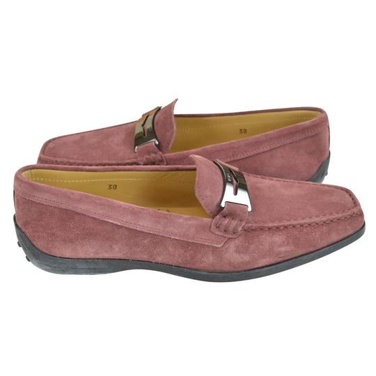 Tod's Suede Guaina Penny Loafers Red Dusty pink Flats Image 3