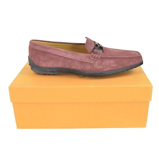 Tod's Suede Guaina Penny Loafers Red Dusty pink Flats Image 5
