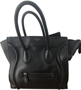 Celine Leather Pebbled Calfskin Classic Tote in Black