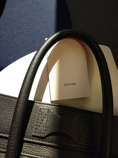 Celine Leather Pebbled Calfskin Classic Tote in Black Image 1
