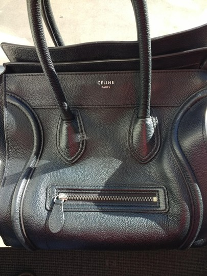 Celine Leather Pebbled Calfskin Classic Tote in Black Image 3