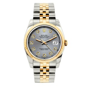 ROLEX 36mm Datejust Gold S/S Diamond with & Appraisal