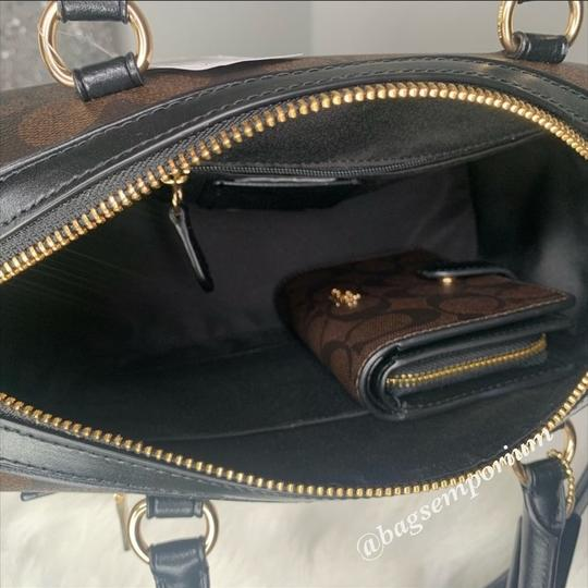 Coach Satchel in Signature Brown Image 4