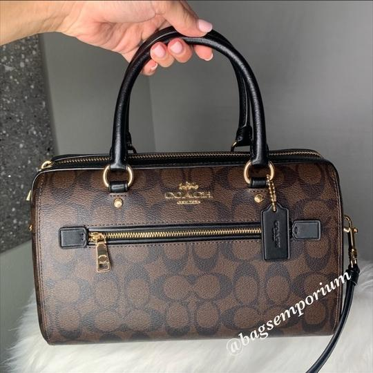 Coach Satchel in Signature Brown Image 8