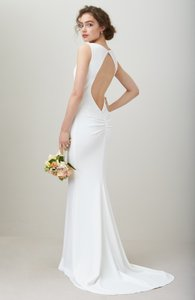 Katie May Ivory Jean and Noel Theo Low Back Crepe Mermaid Modern Wedding Dress Size 2 (XS)