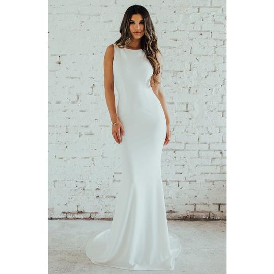 Katie May Ivory Jean and Noel Theo Low Back Crepe Mermaid Modern Wedding Dress Size 2 (XS) Image 5