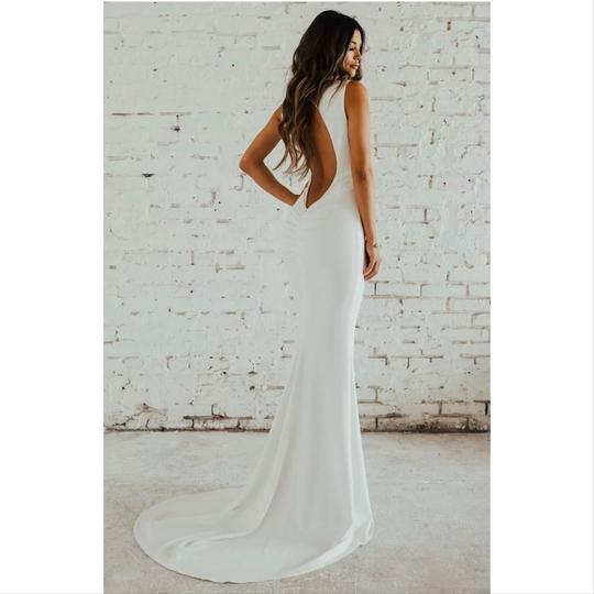 Katie May Ivory Jean and Noel Theo Low Back Crepe Mermaid Modern Wedding Dress Size 2 (XS) Image 6