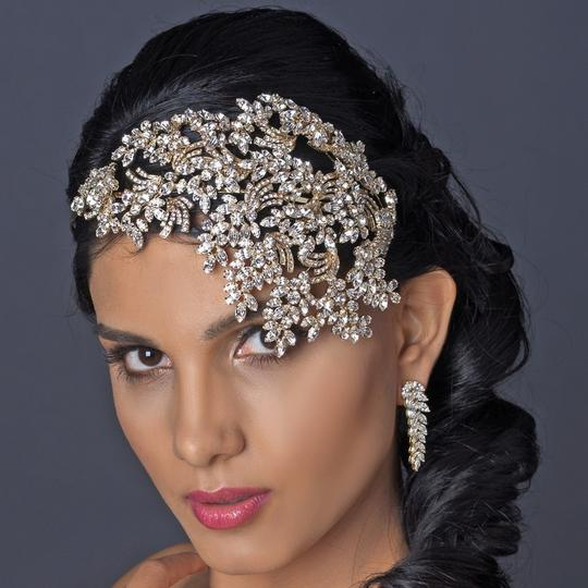 Elegance by Carbonneau Gold Light Clear Rhinestone Deco Side Accented Headband Tiara Image 2