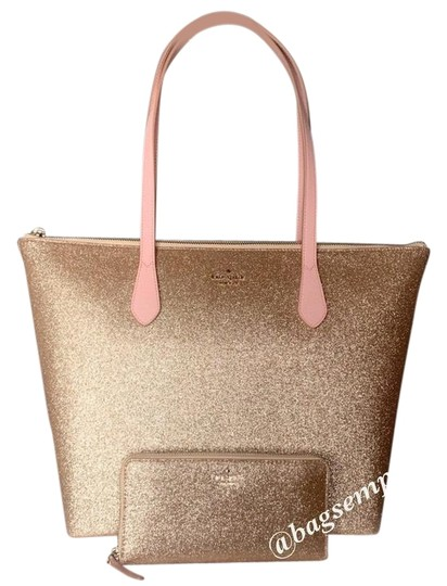 Preload https://img-static.tradesy.com/item/26305152/kate-spade-joeley-large-glitter-wallet-set-rose-gold-tote-0-3-540-540.jpg