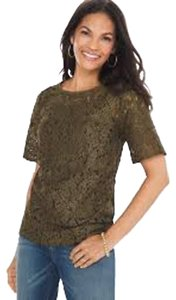 Chico's Foiled Lace Top Green