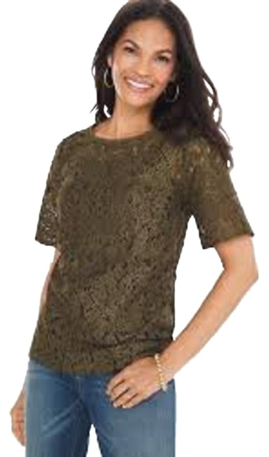 Preload https://img-static.tradesy.com/item/26305168/chico-s-green-foiled-lace-blouse-size-12-l-0-3-650-650.jpg