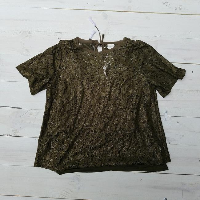 Chico's Foiled Lace Top Green Image 1