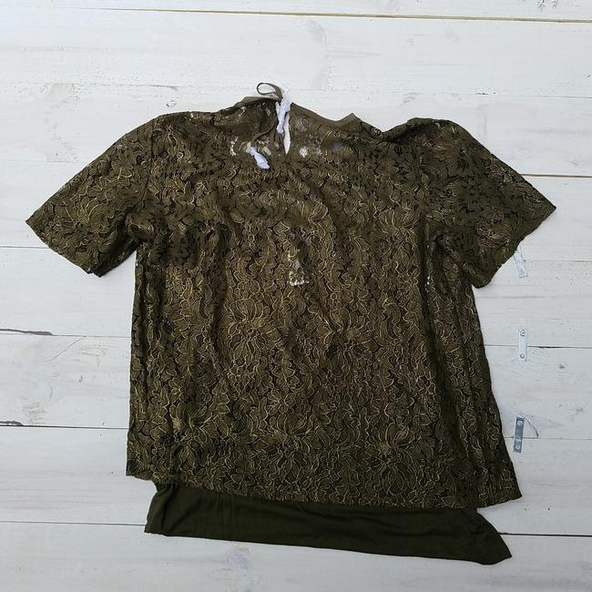 Chico's Foiled Lace Top Green Image 3