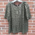 Chico's Foiled Lace Top Green Image 4