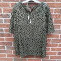 Chico's Foiled Lace Top Green Image 6