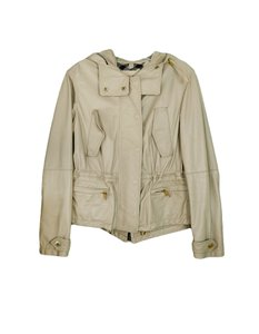 Burberry Brit Attacked Hood Lambskin Grey Leather Jacket