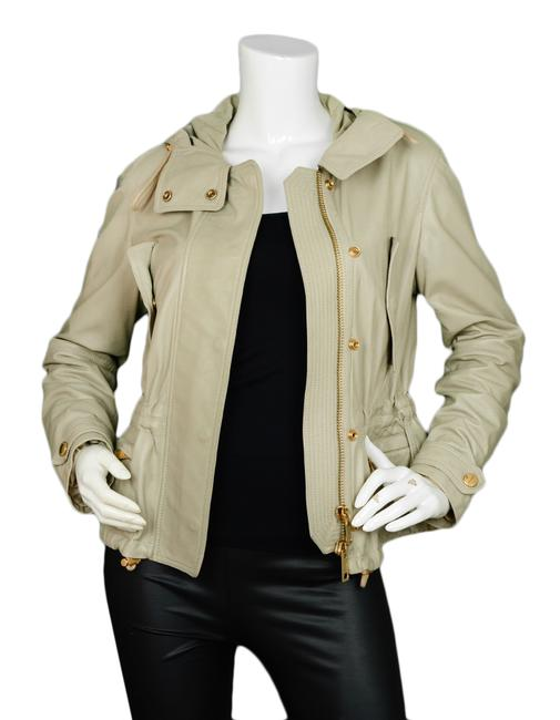 Burberry Brit Attacked Hood Lambskin Grey Leather Jacket Image 1