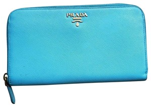 Prada Prada Saffiano Leather Zip Around Wallet