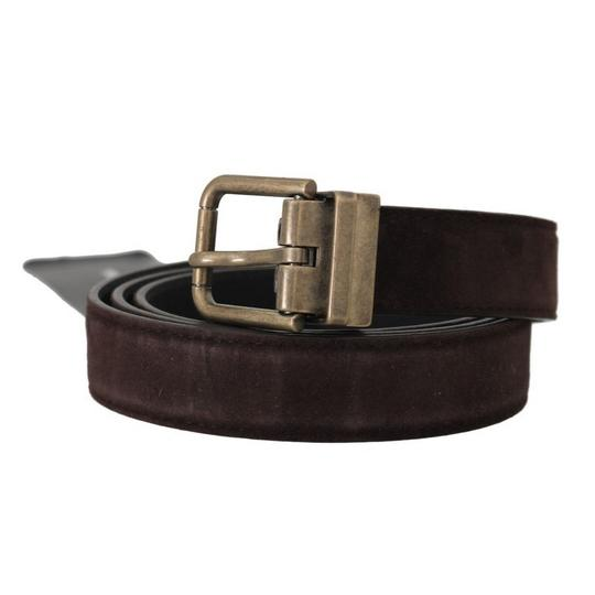 Dolce&Gabbana Brown D50161-2 Goatskin Gold Buckle Belt Groomsman Gift Image 1