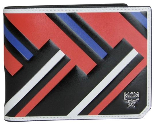 MCM MCM Black Red Blue Leather Bi-Fold Wallet w/Logo MXS8SCE83BB001 Image 0