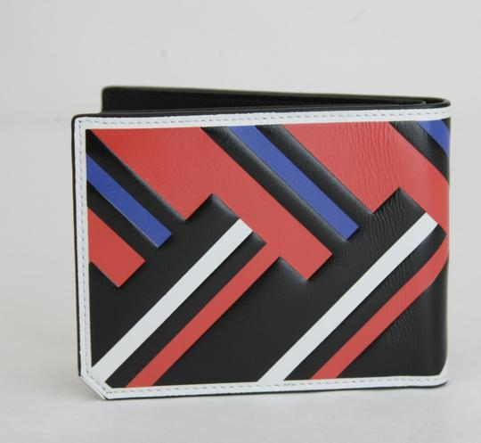 MCM MCM Black Red Blue Leather Bi-Fold Wallet w/Logo MXS8SCE83BB001 Image 3