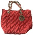 Carolina Herrera Quilted Chain Strap Nylon Designer Tote in Red