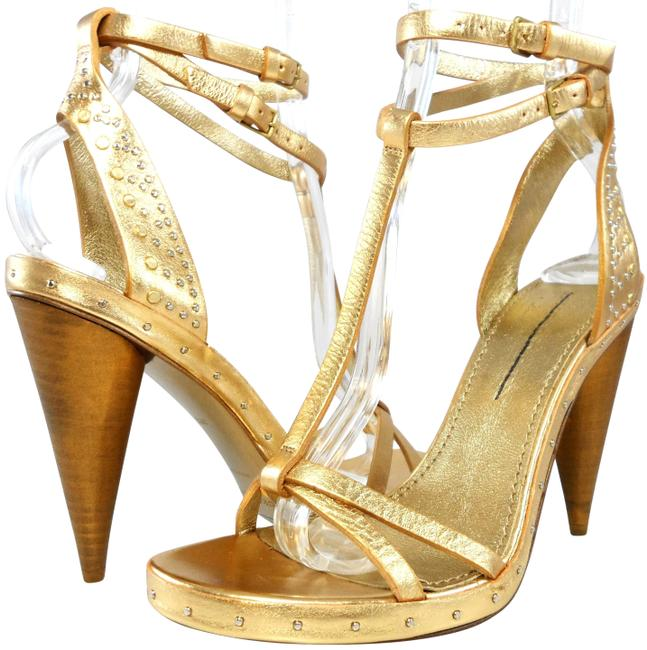 Item - Gold Studded Leather Ankle T-strap Sandals Heels Platforms Size EU 36.5 (Approx. US 6.5) Regular (M, B)