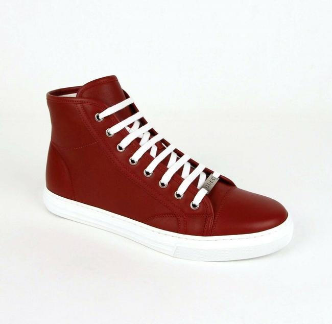 Gucci Red Leather Hi Top Sneaker with Silver Plaque 8g/Us 9 423300 6420 Shoes Gucci Red Leather Hi Top Sneaker with Silver Plaque 8g/Us 9 423300 6420 Shoes Image 1