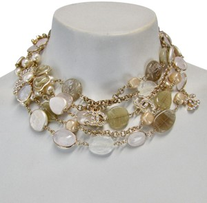 Chanel NEW CHANEL NECKLACE 2006 P 3 Rows Multi layer CC Glass Stones Marble