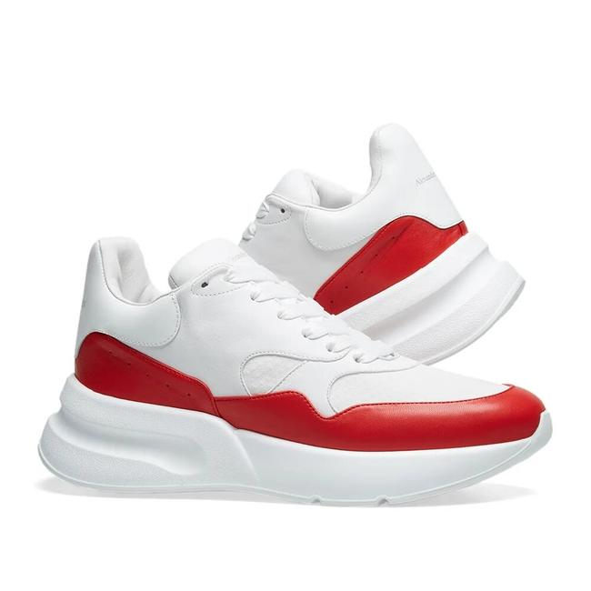 Item - White/Red Colorblock Leather Runner Sneakers Size EU 39.5 (Approx. US 9.5) Regular (M, B)