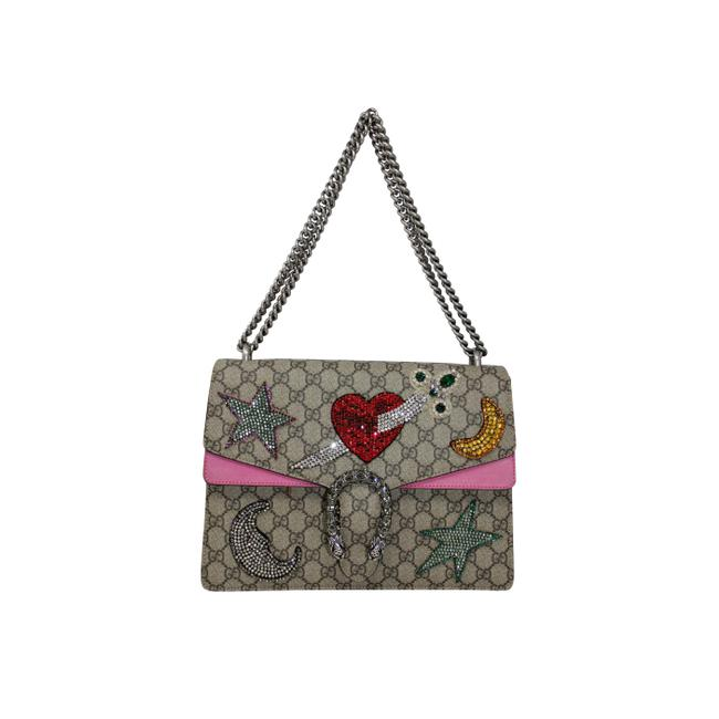 Item - Dionysus Crystal Embellished Taupe/ Multi Colored Canvas Shoulder Bag