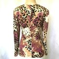 Joseph Ribkoff Brown V Neck Animal Print Snake Brooch Ruched Blouse Size 10 (M) Joseph Ribkoff Brown V Neck Animal Print Snake Brooch Ruched Blouse Size 10 (M) Image 2
