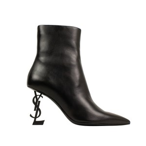 Saint Laurent Leather Pointed Toe Logo Black Boots