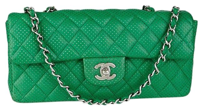 Item - East West W Classic E/W Flap Quilted Cc Logo Medium Green Emerald Silver Lambskin Leather Shoulder Bag