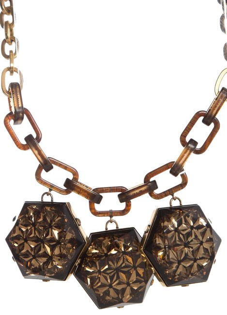 Item - Brown Geometric Crystal Necklace