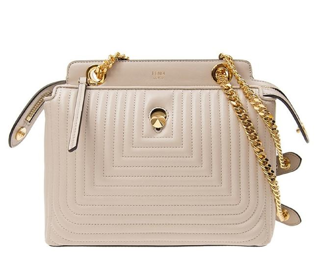 Item - Dotcom Click Caramel Small Quilted Chain 8bn299 Beige Lambskin Leather Satchel