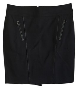 Ann Taylor Leather Trim Skirt Black