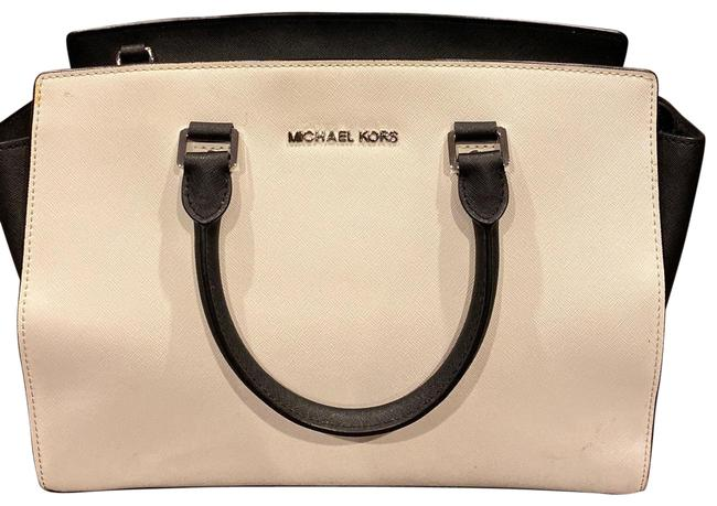 Item - White and Black Saffiano Leather Satchel