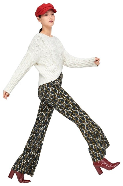 Item - Navy Blue Chain Printed Flared Belted Pants Size 0 (XS, 25)