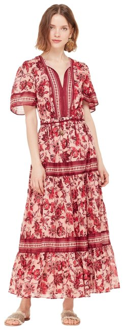 Item - Red Pink Gold Tiered Metallic Floral Paisley Blossom Midi Casual Maxi Dress Size 8 (M)