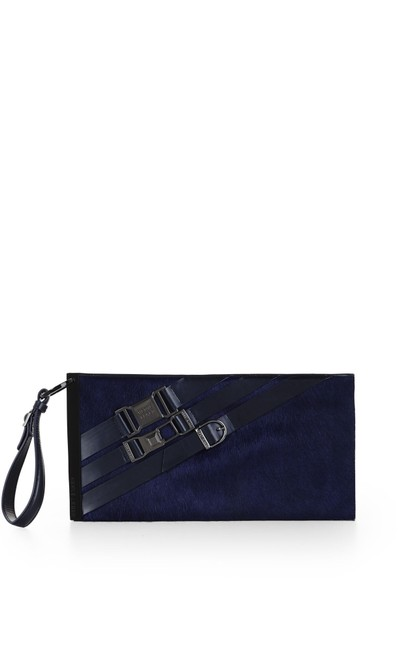 Item - Leather Navy Calf Hair Clutch