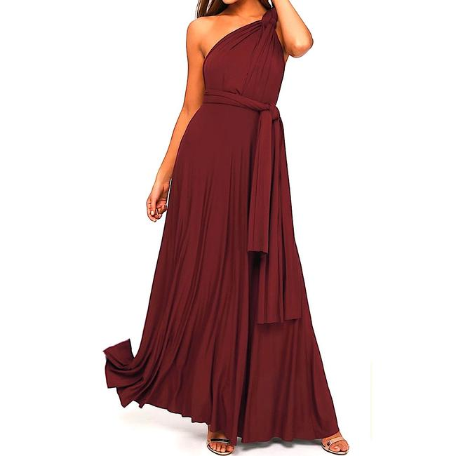 Lulu*s Burgundy Tricks Of The Trade Maxi Gown Long Cocktail Dress Size 8 (M) Lulu*s Burgundy Tricks Of The Trade Maxi Gown Long Cocktail Dress Size 8 (M) Image 7