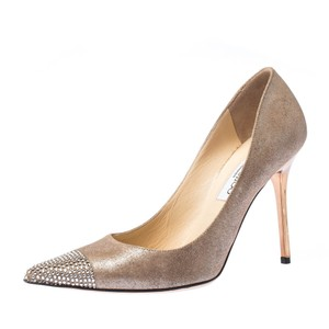 Jimmy Choo Textured Suede Crystal Leather Beige Pumps