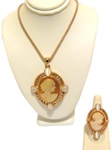AMEDEO AMEDEO NYC Cats Eye Pendant and Cameo Ring Set