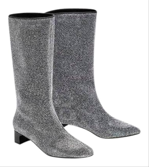 Item - Silver Glitter Heel Ankle Cc Style Boots/Booties Size US 5 Regular (M, B)